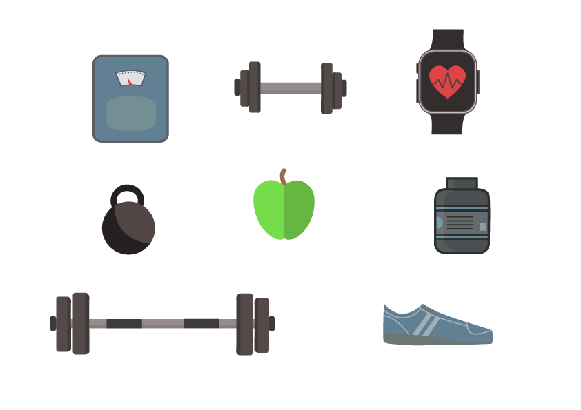 Free Fitness Vector Icons Graphics Pack